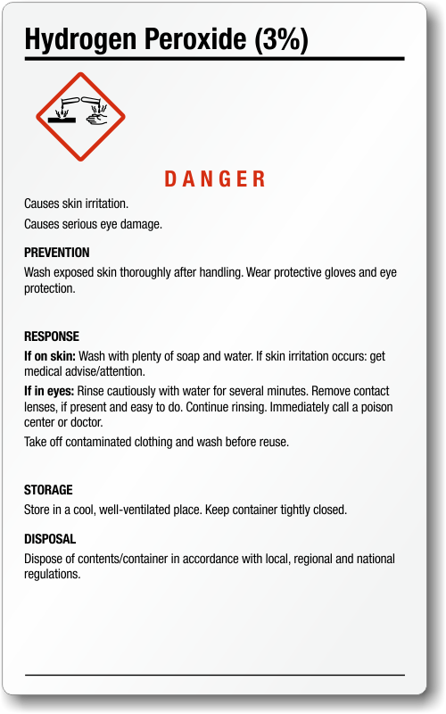 Hydrogen Peroxide GHS Labels