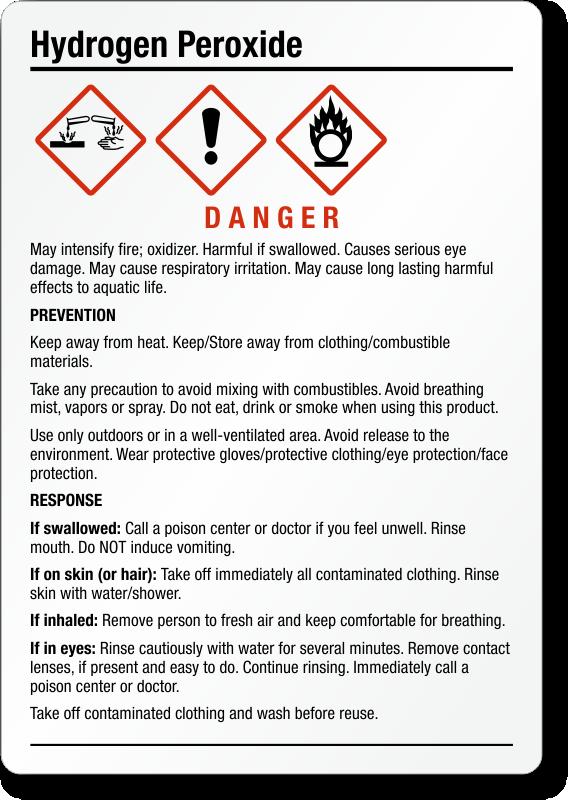 Hydrogen Peroxide Chemical GHS Label, 5in. x 3.5in., SKU ...