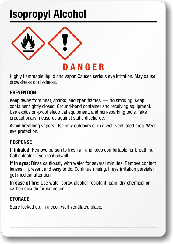 Isopropanol Labels - Osha secondary container label template