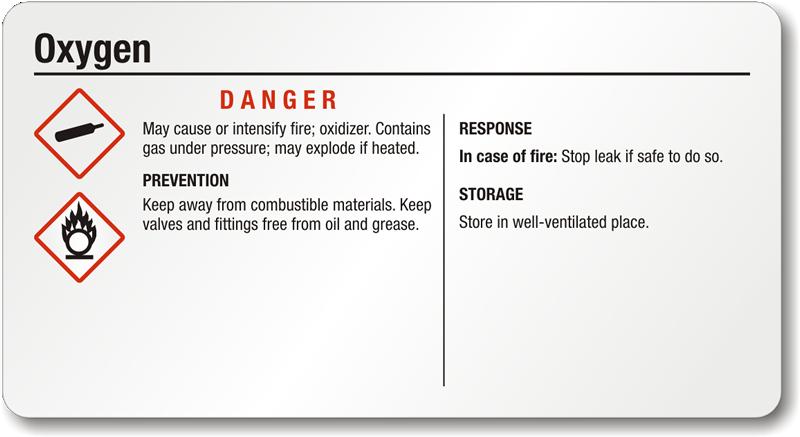 Oxygen Danger Small Ghs Chemical Label Oxidizer Sku Ghs 020 C