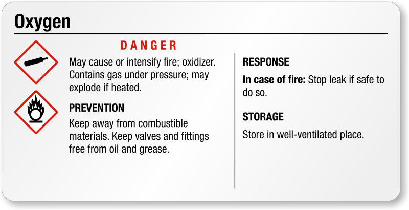 Oxygen Gas Labels