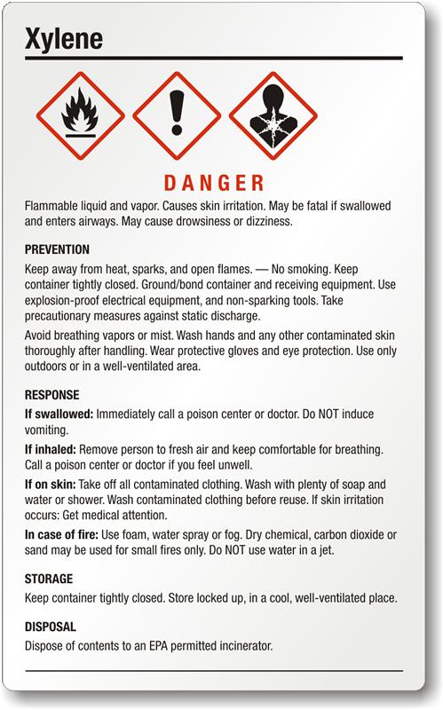 Xylene Danger Large Ghs Chemical Label Sku Ghs 025 A