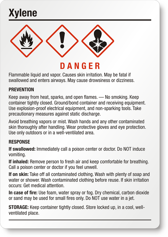 Xylene Danger Ghs Chemical Label Medium Sku Ghs 025 B
