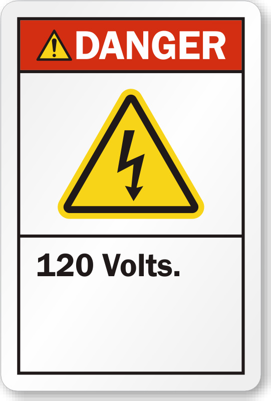 120 Volts Ansi Danger Label Free Shipping Options Sku