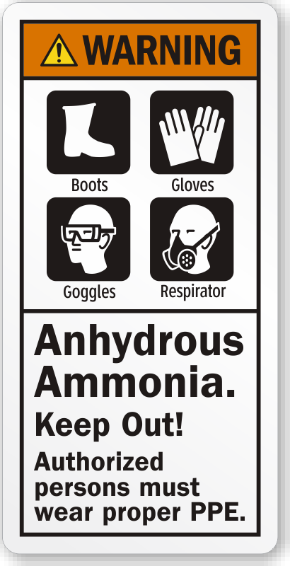 Black Label Price >> Anhydrous Ammonia Keep Out Wear Proper PPE Warning Label, SKU: LB-2346