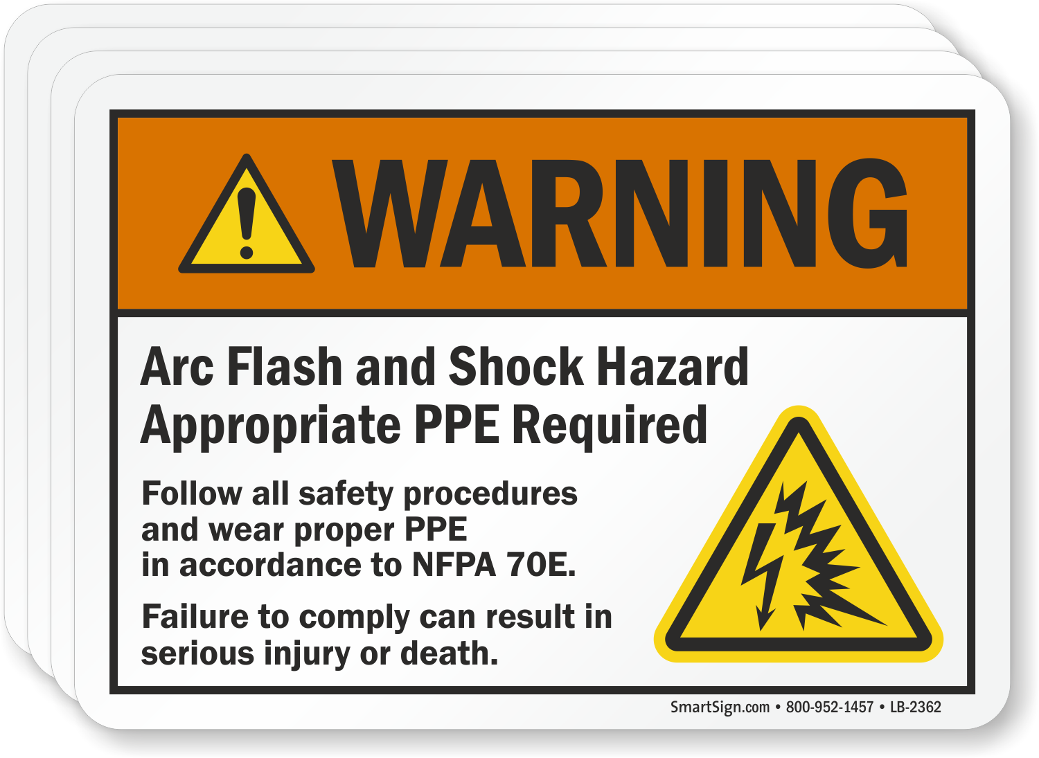 Arc Flash And Shock Hazard Appropriate Ppe Required Label