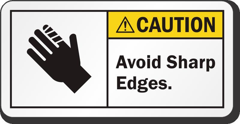 Avoid Sharp Edges Ansi Caution Label Free Shipping Sku