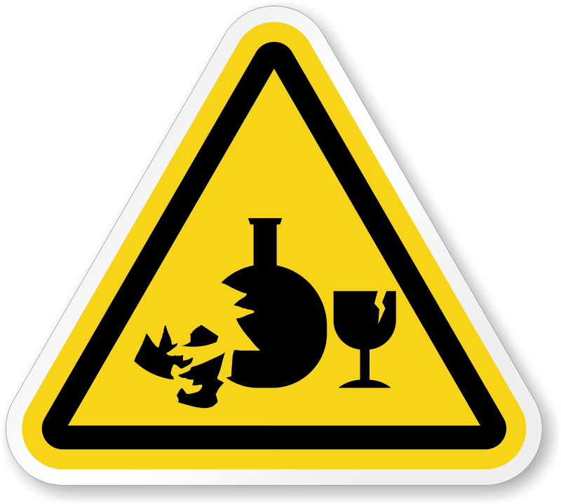 Broken Glass Hazard Symbol Iso Triangle Warning Sticker Signs Sku