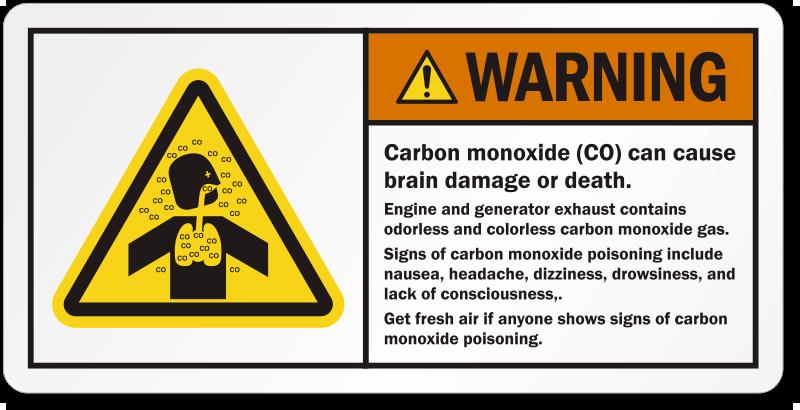 Carbon Monoxide Can Cause Brain Damage Or Death Label Sku Lb 2354