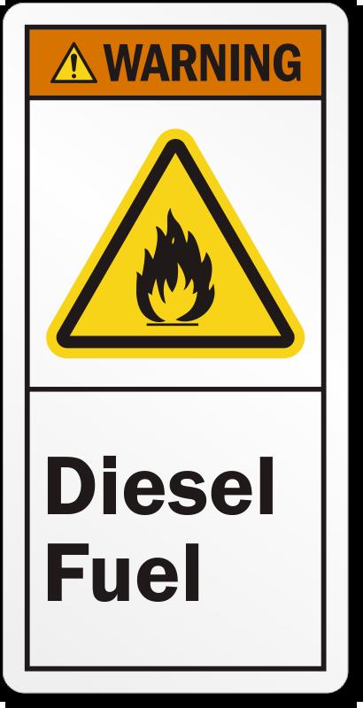 Diesel Fuel Ansi Warning Label Hassle Free Shipping Sku