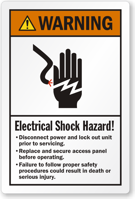 Electrical Shock Hazard Disconnect Power Warning Label