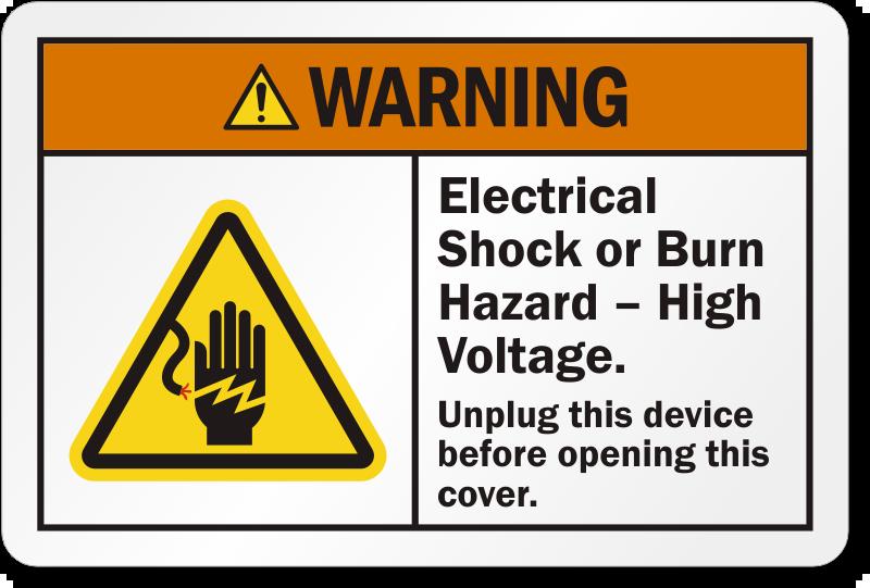 Electrical Shock Or Burn Hazard High Voltage Label, SKU: LB-2397