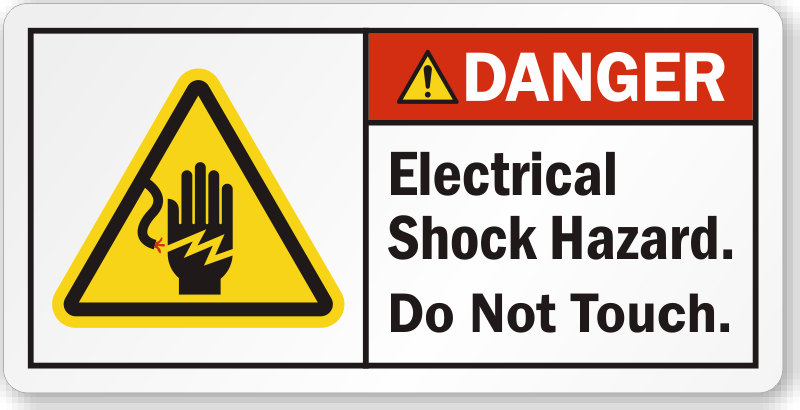Electrical Shock Hazard Do Not Touch Ansi Danger Label