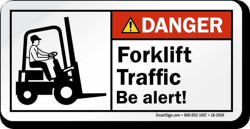 Fork Lift Labels : Forklift traffic be alert ansi danger label sku lb