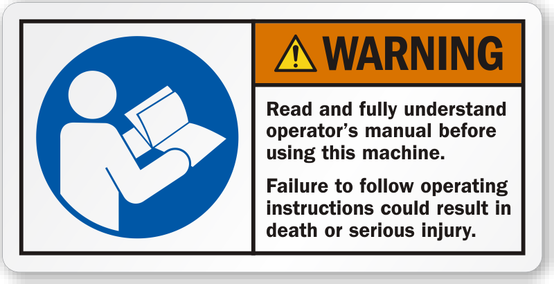 read understand operator s manual before using machine label sku rh mysafetylabels com operators manual 636103 operators manual canister