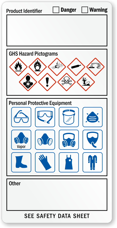 Ghs Hazard And Ppe Required Combo Label Sku Lb 2953