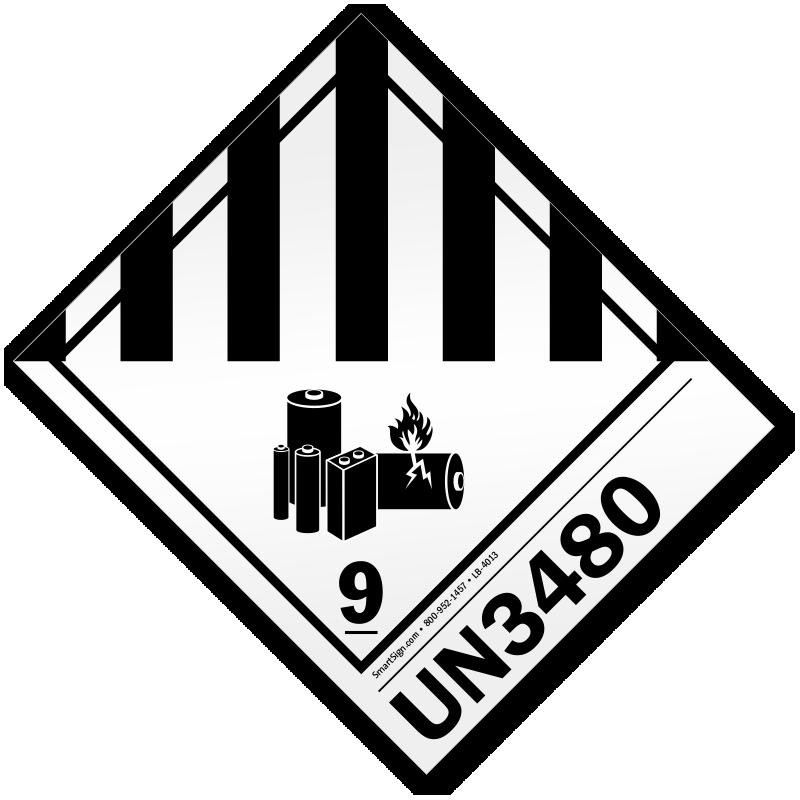 class 9 lithium battery un3480 label  sku