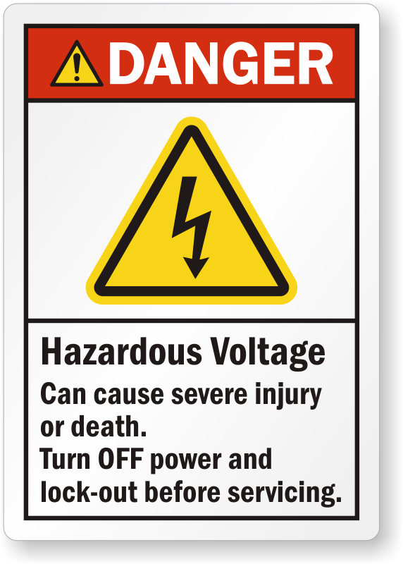 Hazardous Voltage Can Cause Severe Injury Warning Label