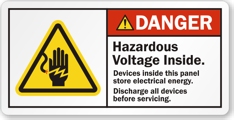 Hazardous Voltage Inside Danger Label Lb on electrical disconnect symbol