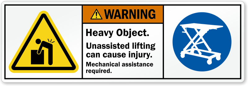 2 person lift safety warning labels