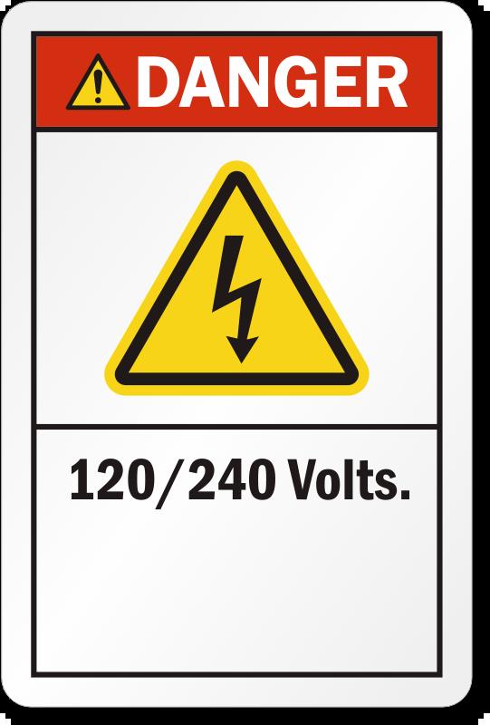 120/240 Volts ANSI Danger High Voltage Label, SKU: LB-2396-120-240