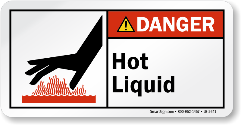 Hot Liquid Ansi Danger Label With Graphic Ships Free