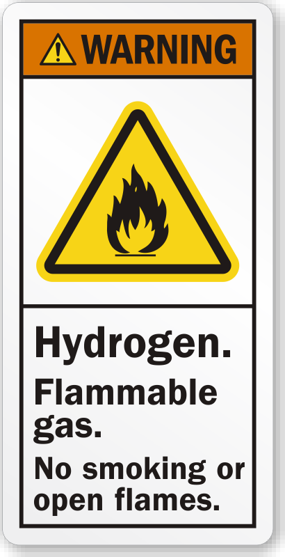 Hydrogen Flammable Gas No Smoking Or Open Flames Label Sku Lb 2340