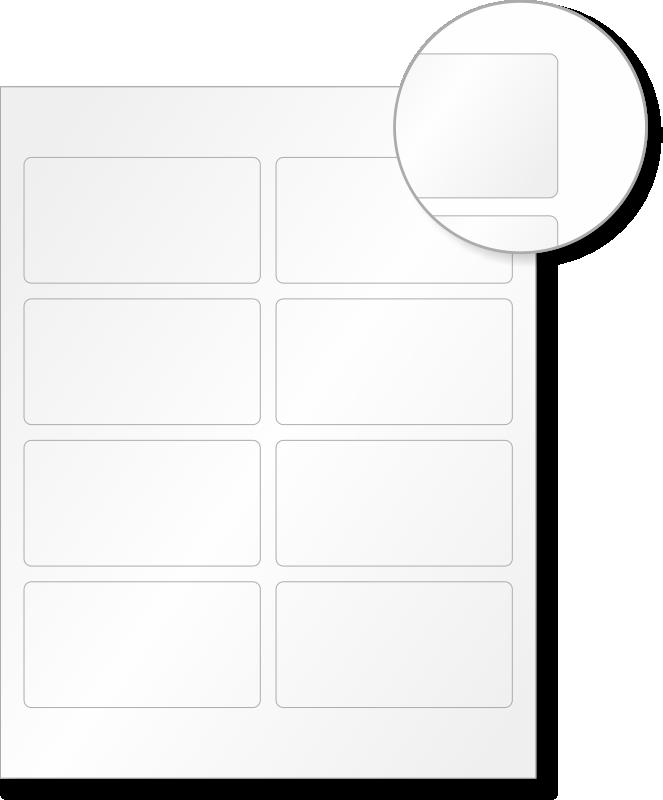 laser printable blank vinyl 8 labels  sheet  2in  x 3 75in