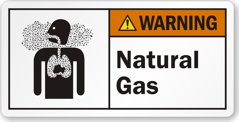 Natural Gas Ansi Warning Label With Inhalation Hazard Symbol Sku