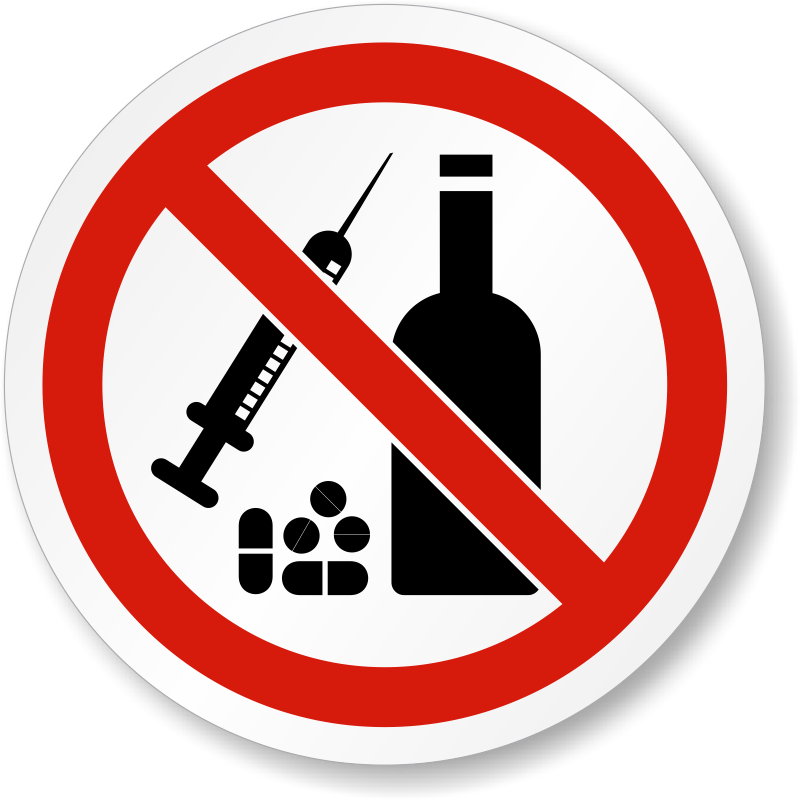 No Drugs Or Alcohol Symbol - ISO Prohibition Label, SKU ...
