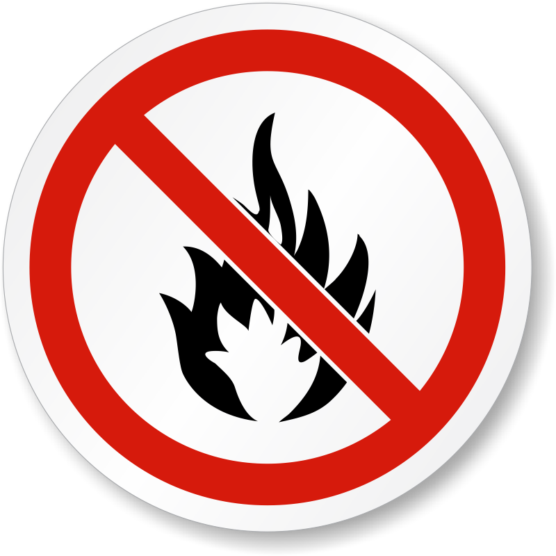 ISO No Fire Or Open Flame Label, SKU: LB-2175