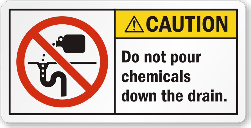 Do Not Pour Chemicals Down The Drain Label Sku Lb 2318