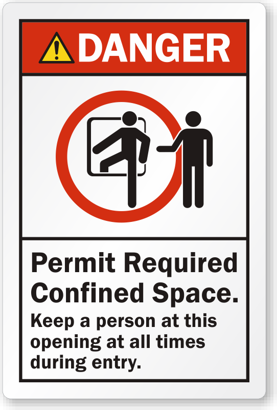Danger Permit Required Confined Space Label, SKU: LB-2383