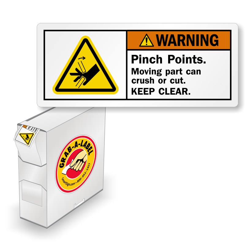 ISO Pinch Points Moving Part Crush Labels In Dispenser Box