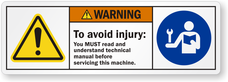 read manual labels read instructions rh mysafetylabels com Caution Safety Signs Caution Sign