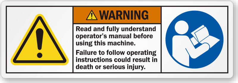 read operator s manual before using this machine label sku lb 2364 rh mysafetylabels com operators manual lt1045 operators manual 636103