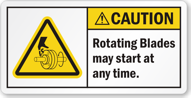 Rotating Blades May Start At Any Time Ansi Caution Label
