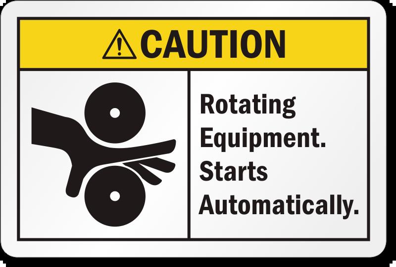 Rotating Equipment Starts Automatically Ansi Caution Label