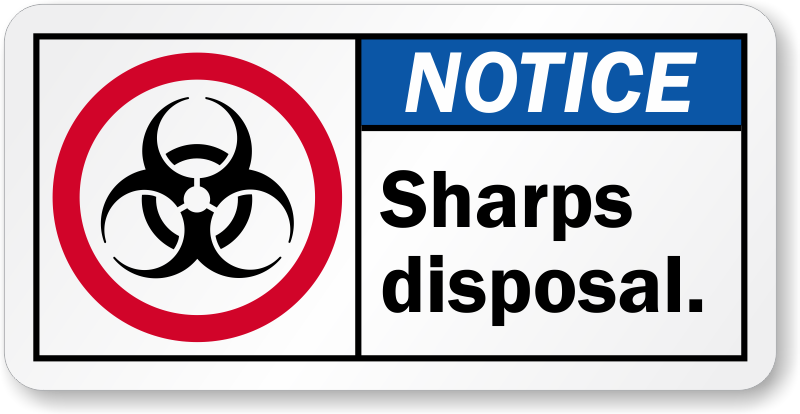 Sharps Warning Labels And Signs Biohazard Sharps Waste