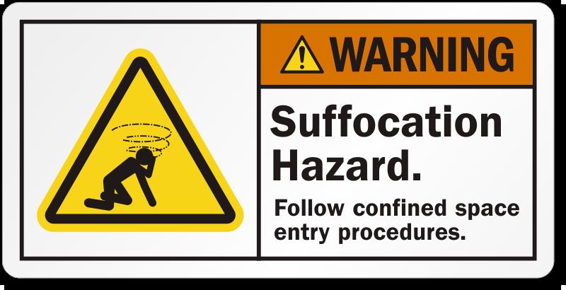 Suffocation Hazard Follow Confined Space Procedures Label