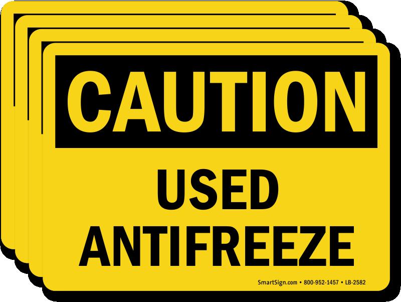What Color Is Antifreeze >> Used Antifreeze OSHA Caution Label, SKU: LB-2582