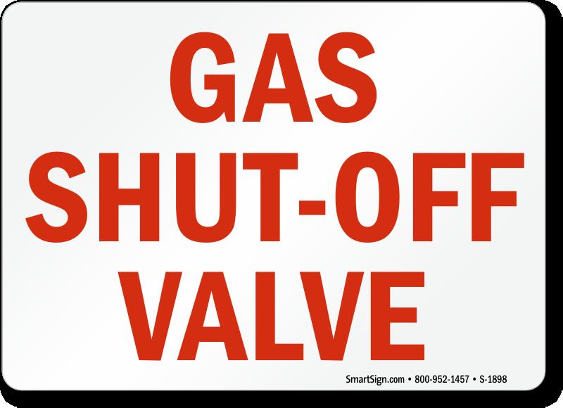 Mains gas shut off safety sign