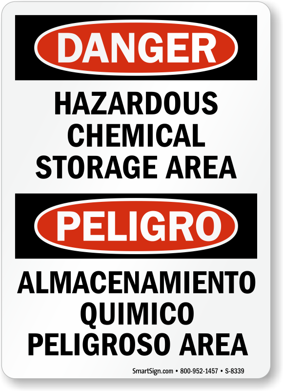 Bilingual Danger Labels And Signs