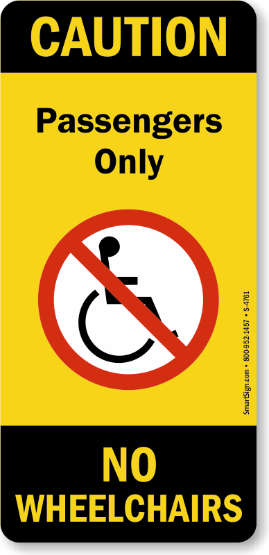 Passengers Only Wheelchairs Escalator Plate Signs Sku