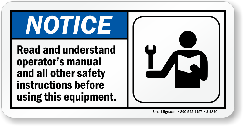 read operators manual before using equipment sign sku s 9890 rh mysafetylabels com operators manual piccolo operator s manual for 42 bagger toro