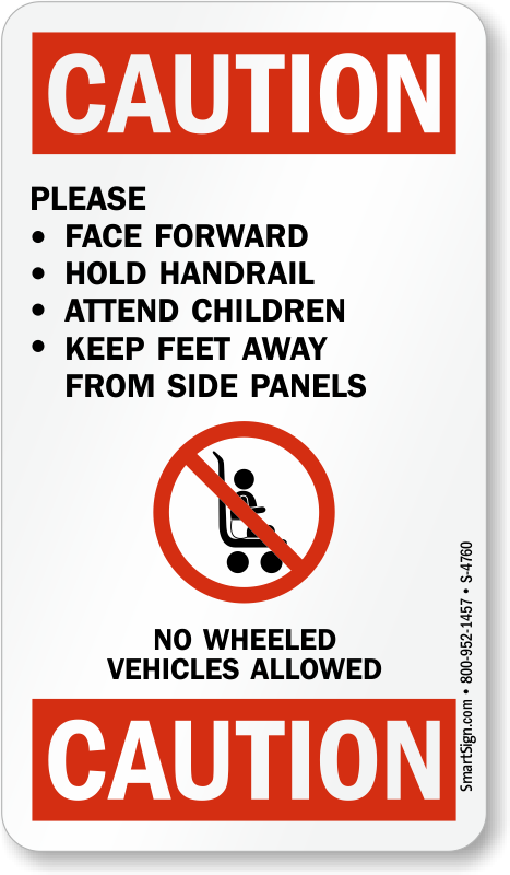 Please Face Forward Use Handrail Escalator Plate Signs, SKU