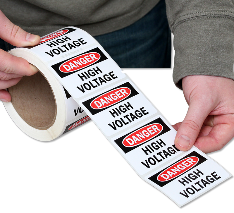 Danger High Voltage Label Roll, 500 Labels/Roll, SKU