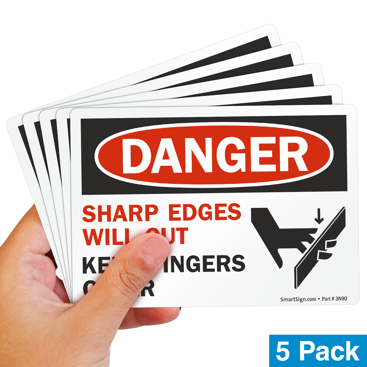 Sharp Edges Will Cut Keep Fingers Clear Labels, Pack Of 5