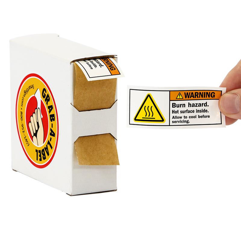 Grab A Label In Dispenser Box: ISO Burn Hazard, Hot Surface Grab-a-Labels Dispenser Box