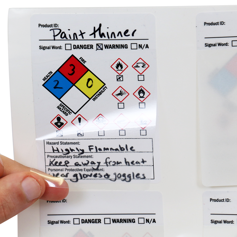 GHS Secondary Hazard & Precautionary Statement Label, SKU